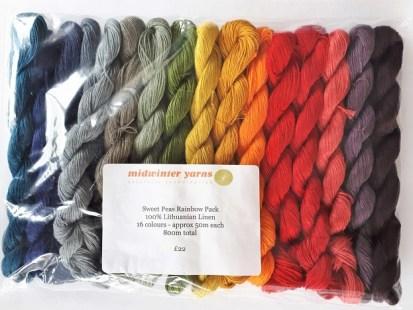 Midwinter yarns - 16 mini-écheveaux de toutes les couleurs en lin