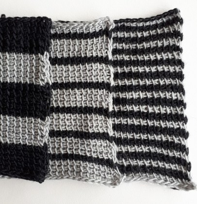 Tunisian crochet stripes with solid color rows