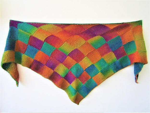 Tunisian Entrelac shawl, design by Hayley Joanne Robinson