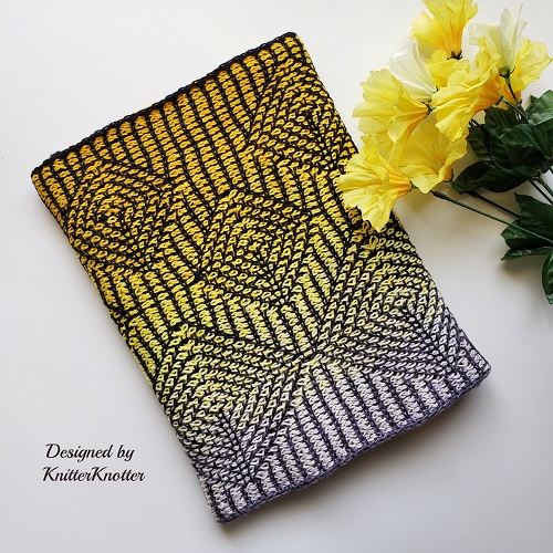 Tunisian crochet Vajra infinity scarf, design by KnitterKnotter