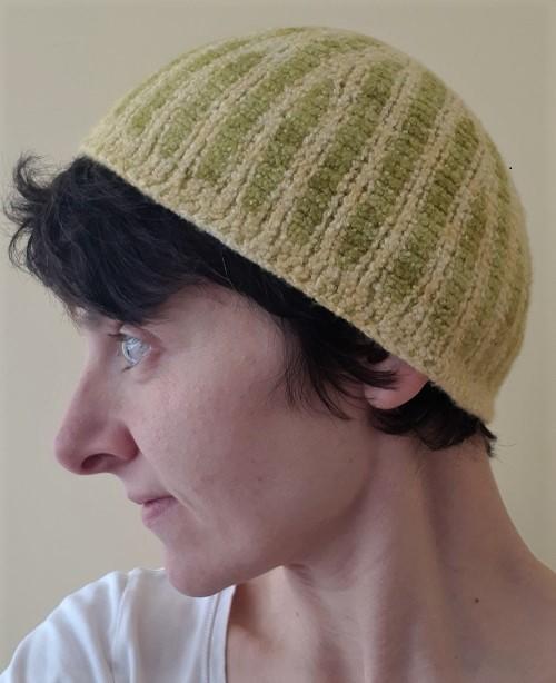 Felting Tunisian crochet beanie Décagone