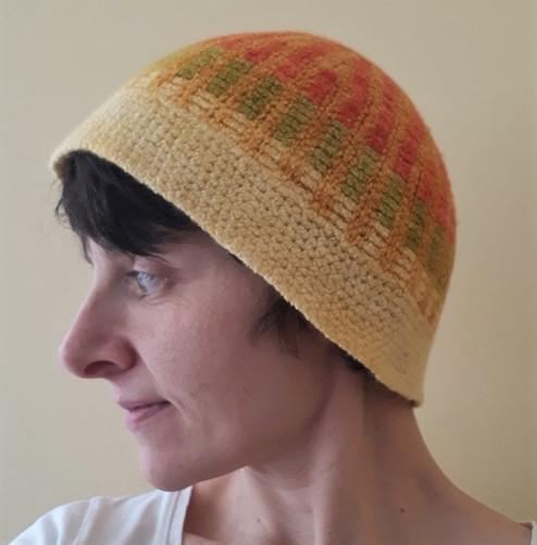 Bonnet Décagone crochet tunisien feutré