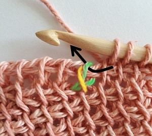 Option 1: Relevez une boucle en passant le crochet sous la maille du rang précédent uniquement.