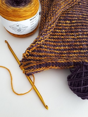 Tunisian rib stitch with a double-ended hook in 2 contrasting colors