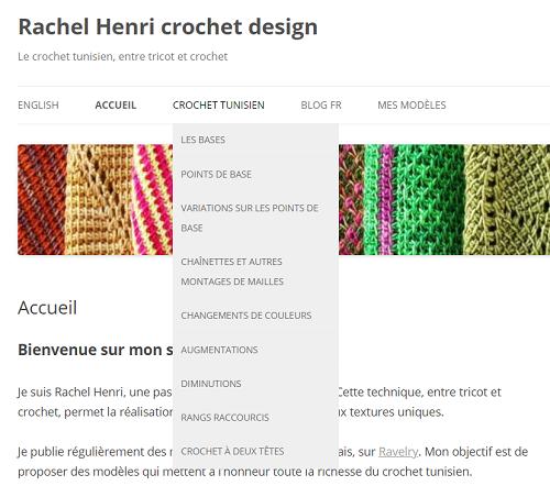 Menu déroulant dans l'onglet Crochet tunisien pour accéder aux différents thèmes et techniques