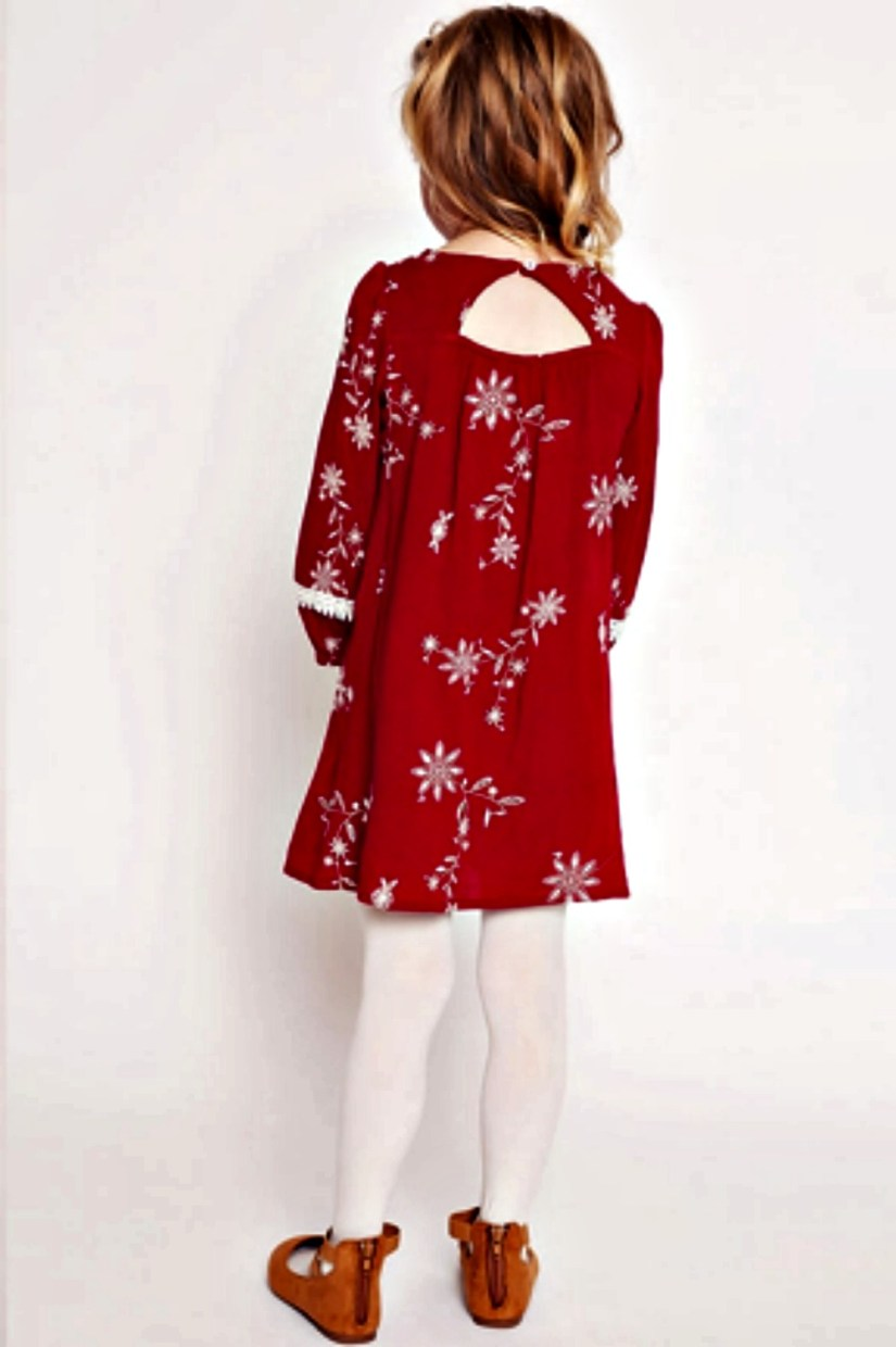 Tween Girl Wearing Red Thanksgiving Dress