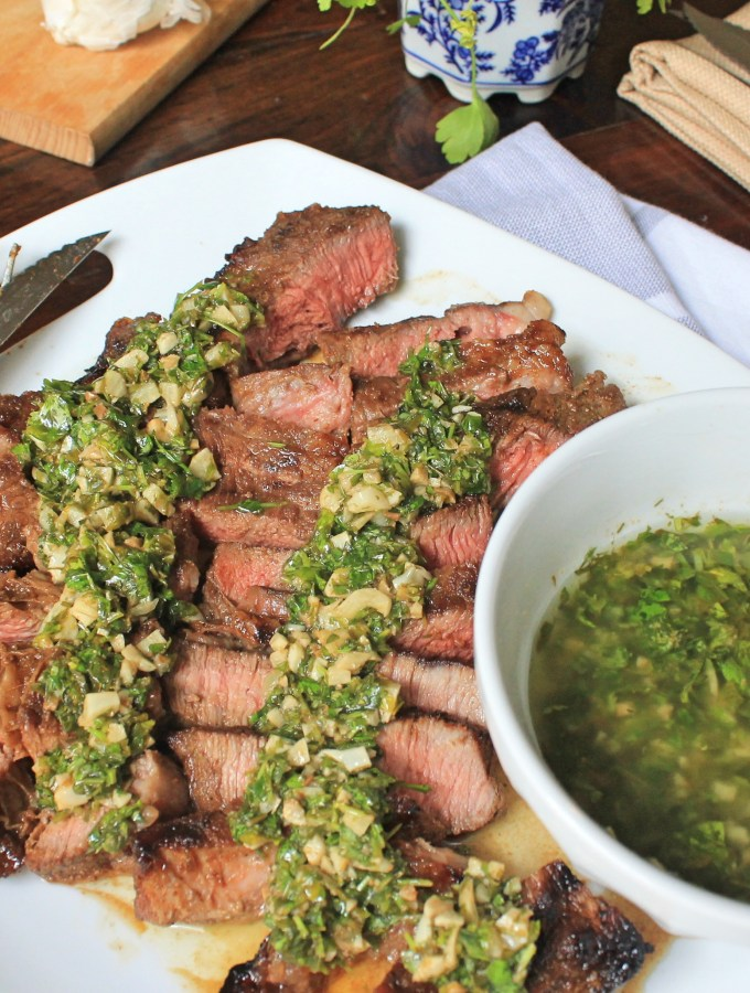 Sliced Steak with Roasted Garlic Chimichurri Sauce