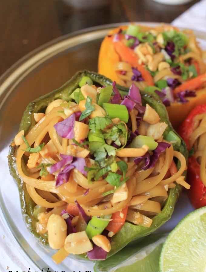 Tahini Pad Thai Stuffed Peppers