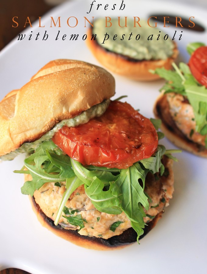 Salmon Burgers with Pesto Aioli