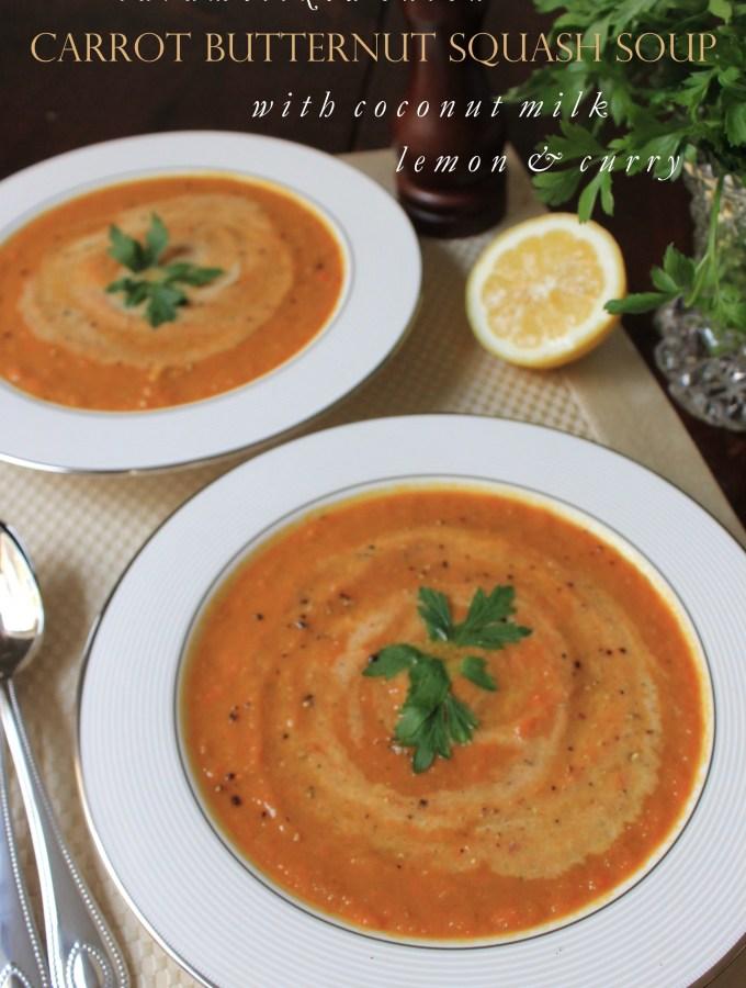 Caramelized Onion Carrot Butternut Squash Soup