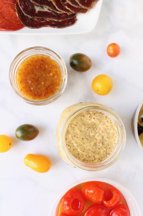 Charcuterie Cups with Apricot and Mustard Sauce