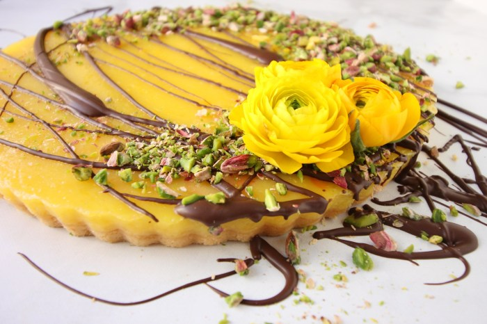 Lemon Tart with drizzled Chocolate