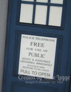 Stampin' Up! Dr Who Tardis Gatefold Card ~ Police Box Sign Closeup | Created by Katie Legge rachelleggestampinup.wordpress.com #DrWho #Tardis #StampinUp