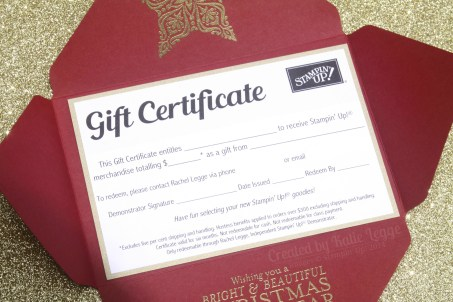 Stampin Up Christmas Gift Certificate - Envelope open closeup - Katie and Rachel Legge