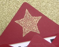 Stampin Up Christmas Gift Certificate - Gold embossed star closeup - Katie and Rachel Legge