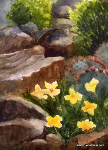 Watercolor of rocks and flowers by Rachel Murphree
