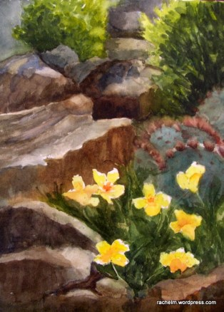 Watercolor of rocks and flowers by Rachel Murphree