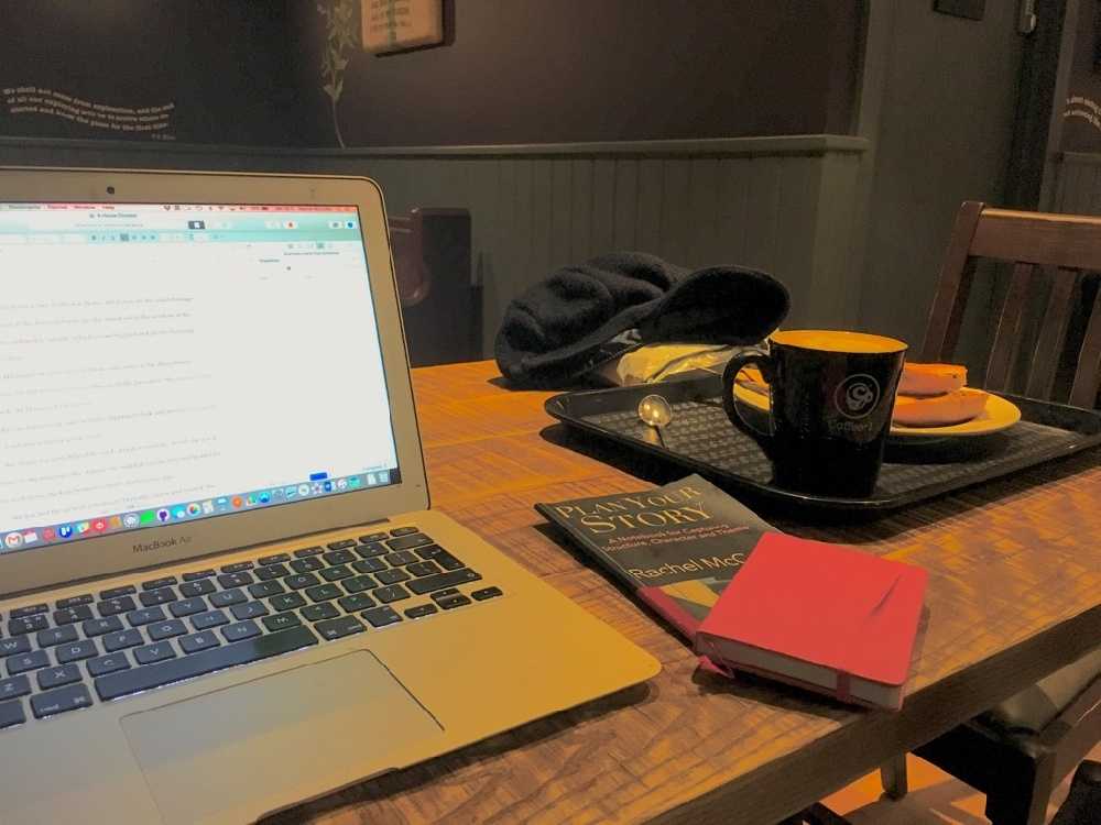 Writing in a coffee shop