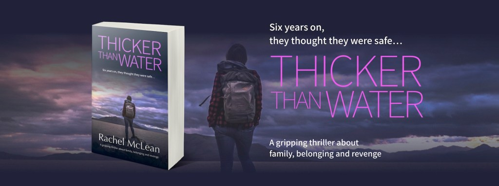 Thicker Than Water - banner with book cover and image of woman against backdrop of a stormy coastline