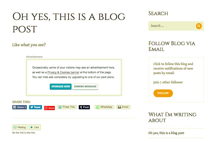 Social sharing buttons on a blog post