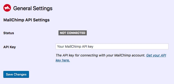 The MailChimp Settings screen