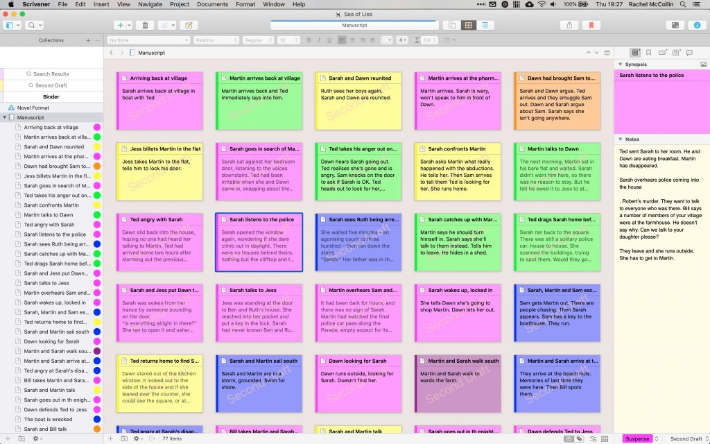 Editing a novel in Scrivener