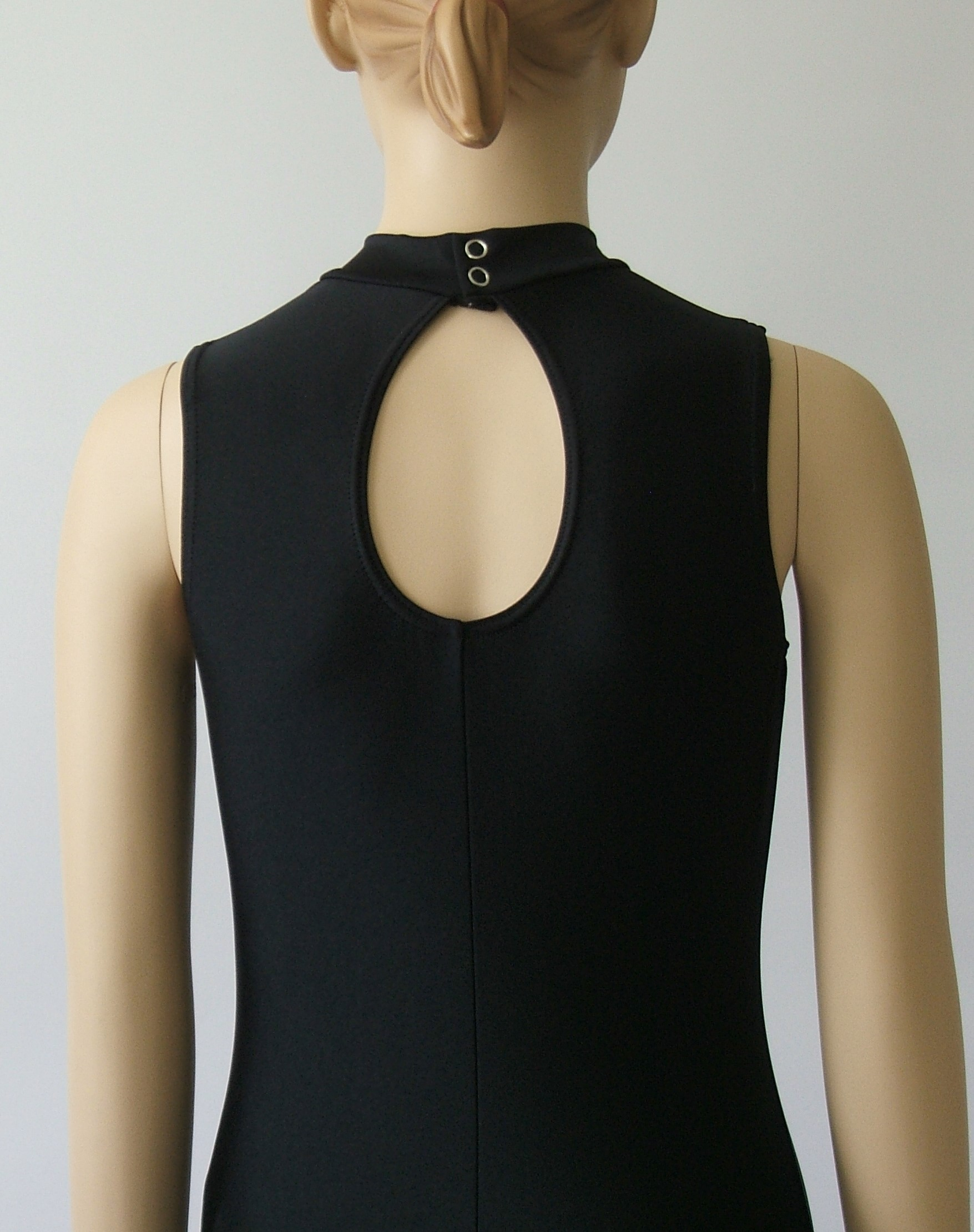 Leotard - Back view Black Polo Neck