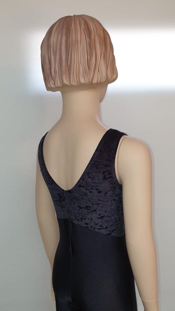 Sleeveless Catsuit in Black Velvet & Black Nylon Side Back View