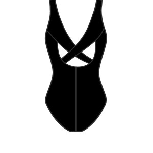 Cross Back Detail Sleeveless Leotard in Black Back View