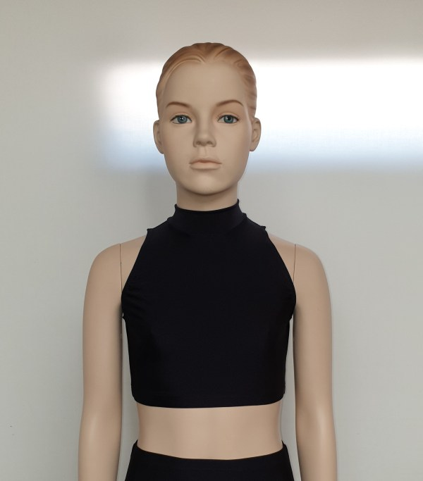 Poloneck sleeveless crop top front view