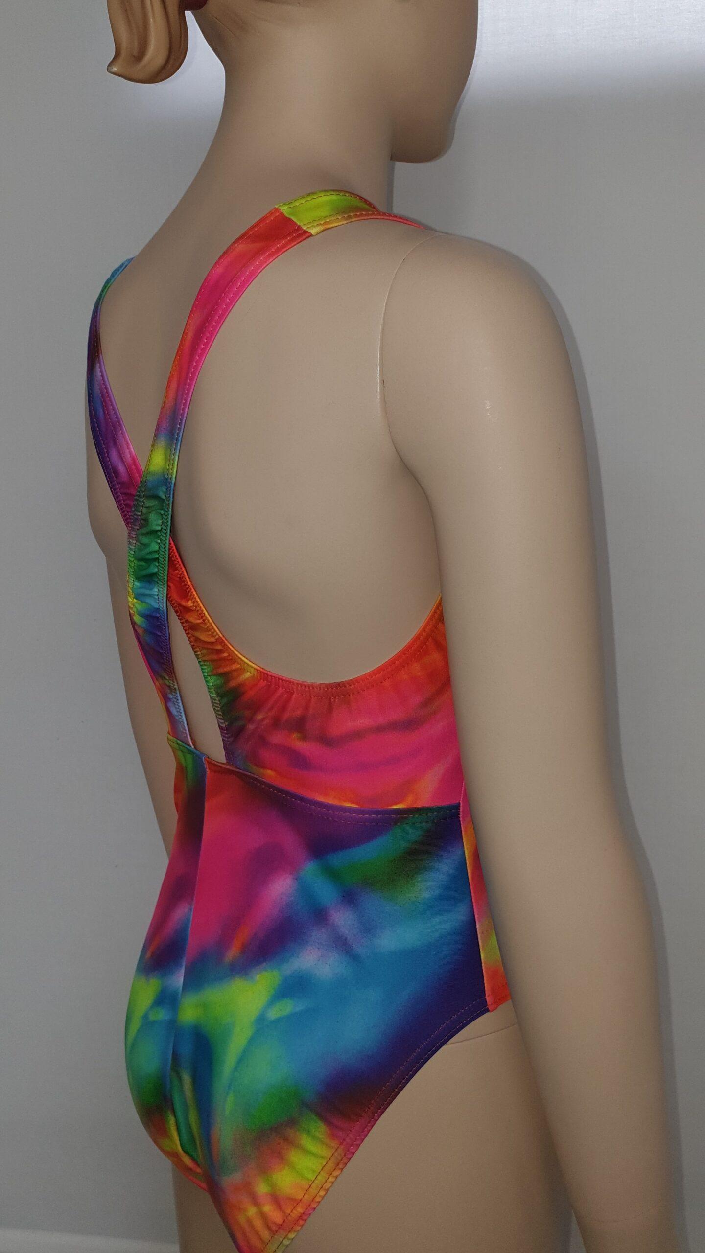 Amelia Leotard - in tie dye nylon [close up side back view]
