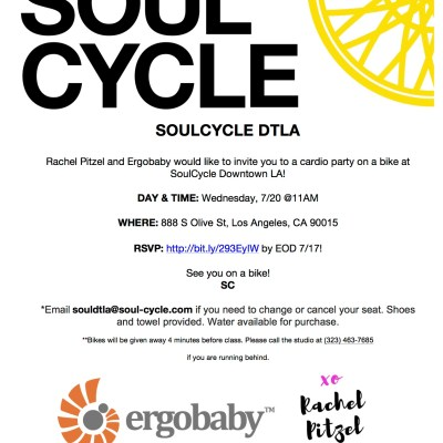 Free Ride with Me + Ergobaby at Soul Cycle DTLA