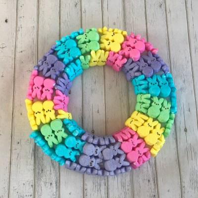 DIY: Rainbow Ombre Peeps Easter Wreath!