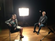 Interviewing liver transplant recipient Peter Chwal