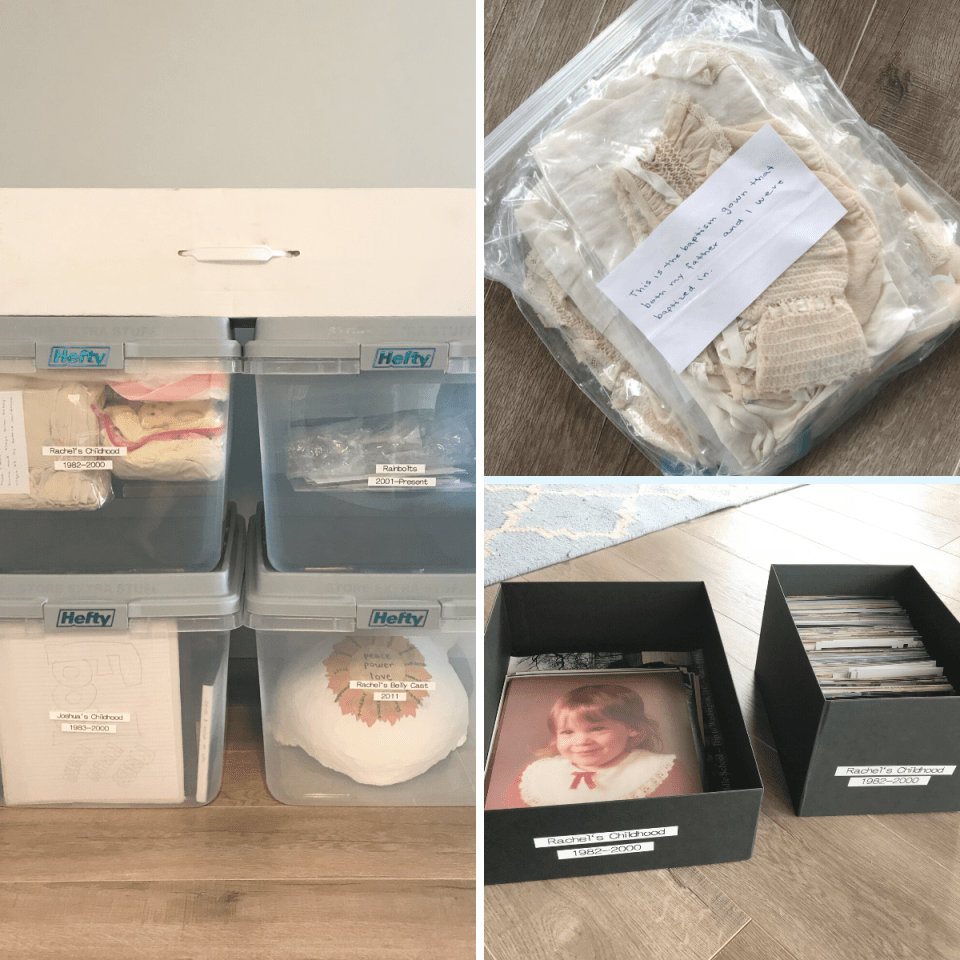 Childhood keepsakes and photos simplified, scanned, and organized