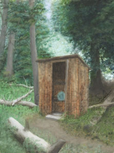 "©Rachel Brask, Rugged Outhouse. Oil on panel. 12"" x 14"""