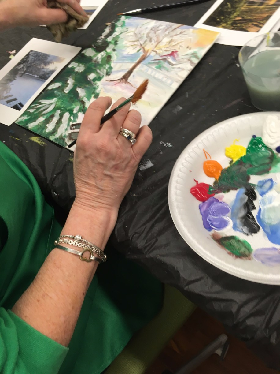 Students create paintings inspired by Impressionist painters like Claude Monet