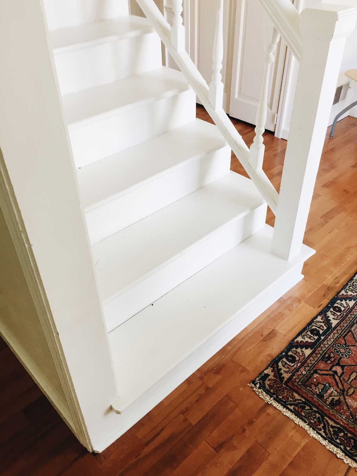 Rachel Schultz Painting A Staircase White | Wood Steps With White Risers | Timber | Wood Stair | Before And After | Color | Stair Tread