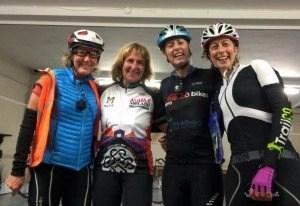 Four ladies start and power to the finish line. Catherine Shenk USA, Bridgit Zimmermann Germany, Linda o'Connor Ireland, Rachel Nolan Ireland