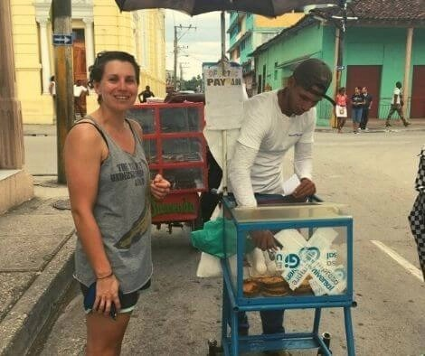 Streetfood in Guantanamo City on our Cuba cycling trip