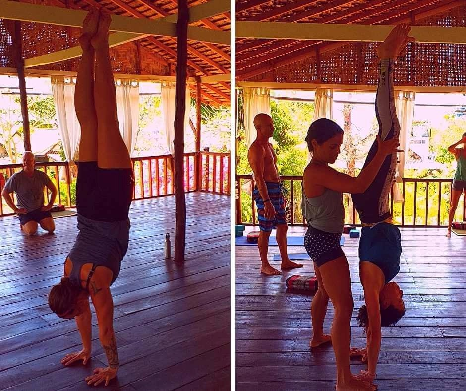 Iszy and Rachel in a handstand