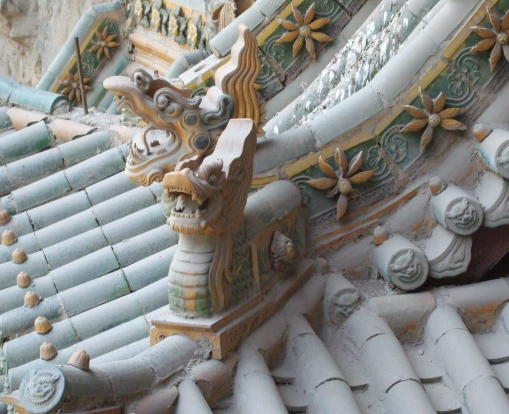 roof detail at the hanging monastery