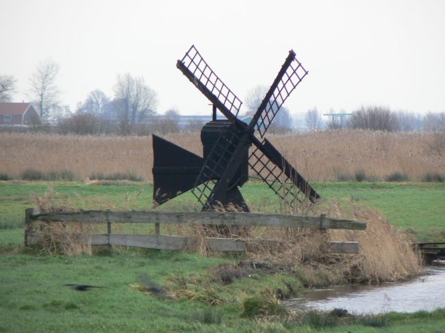A small windmill like this was used to pump water up from a lower to a higher level body of water.