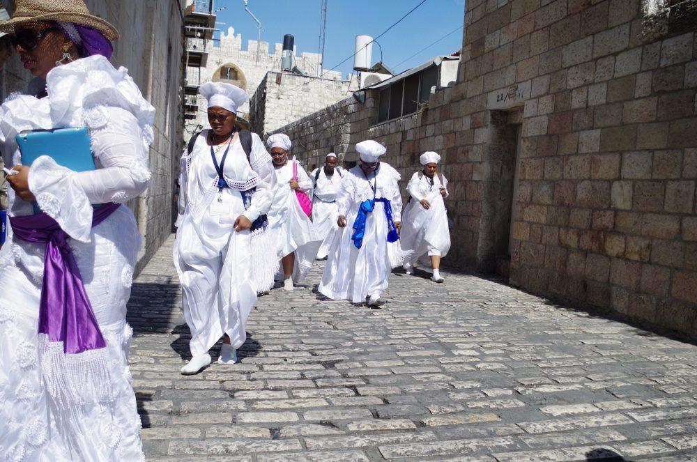 Pilgrims on the Via Dolorosa (photo courtesy of Anne Hellersmith)