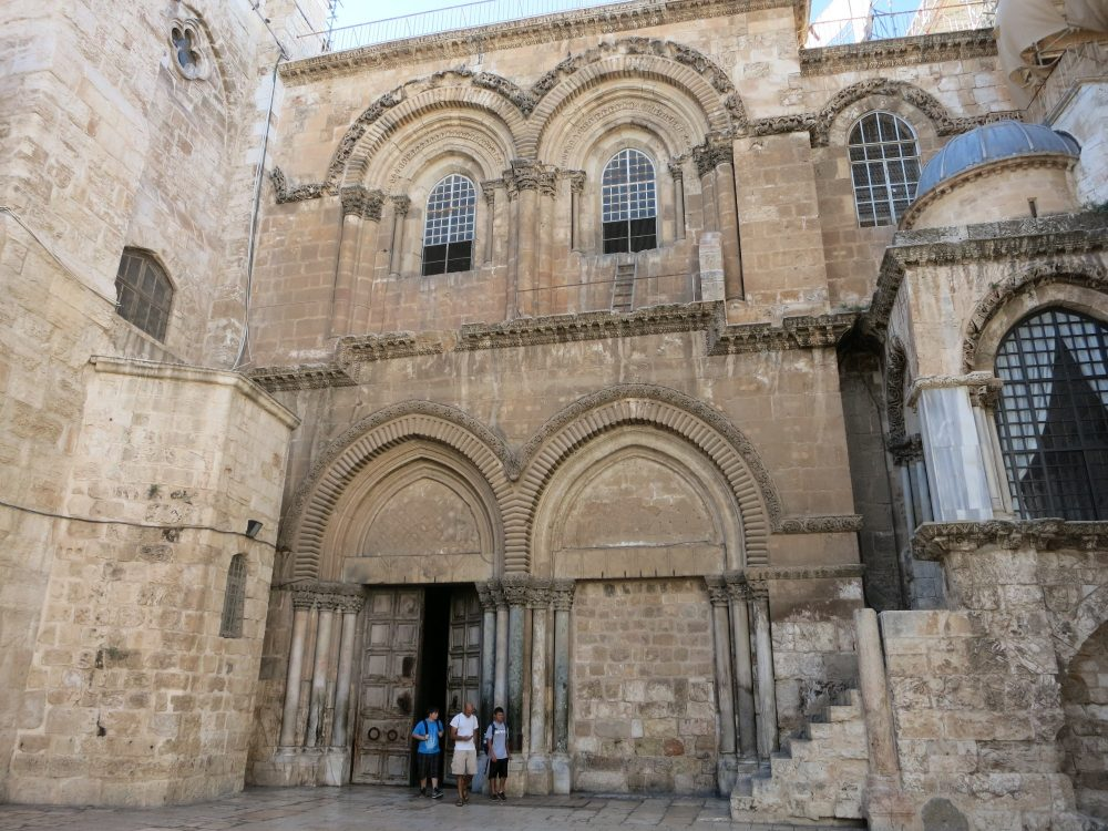 the front of the Church of the Holy Sepulchre on the Via Dolorosa
