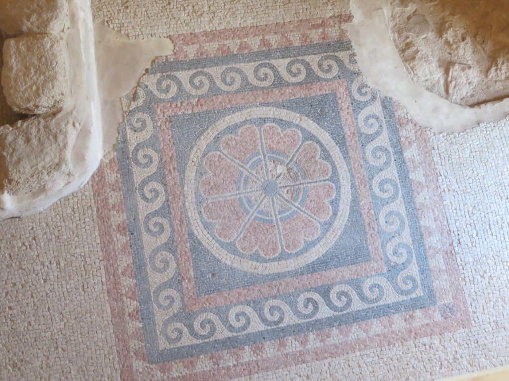 a Herodian-era mosaic at Masada