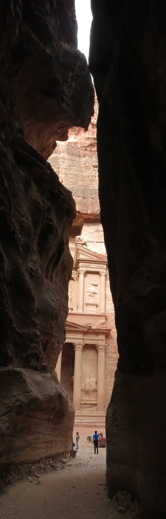 the Treasury at Petra, as seen from the Siq