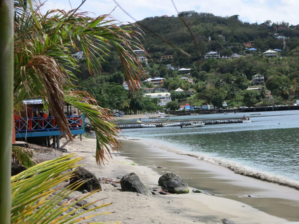 A palm tree's leaves lean into the picture on the left. On the right, waves lap on the narrow beach (high tide). In the distance is the curve of the bay and a high, green hill, with a scattering of houses up the side.
