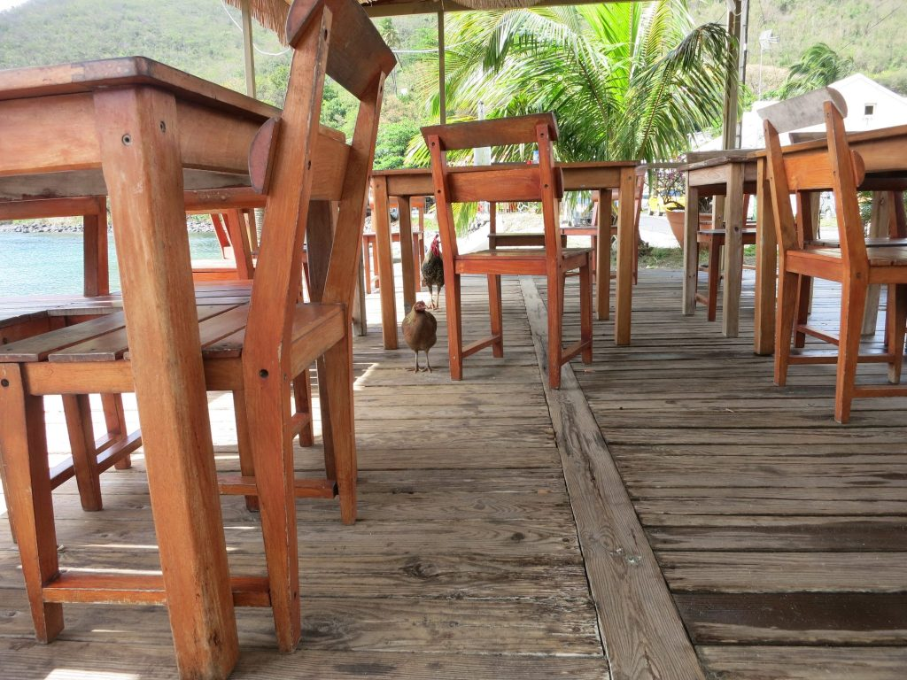 """View of the restaurant used in """"Death in Paradise,"""" empty except for some chickens."""