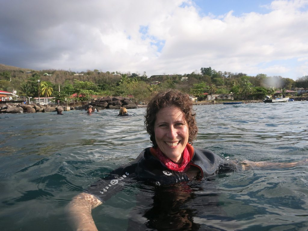 Taken in the water, this shows just my head and shoulders sticking out of the water on a snorkel trip in Guadeloupe.